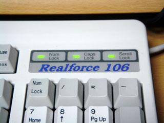 Realforce 106 PS/2 のインジケータとロゴ