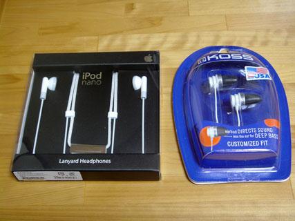 KOSS Spark Plug と iPod nano Lanyard ヘッドホン